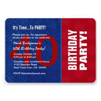 Azul branco vermelho moderno B40F do aniversário d Convites Personalizado