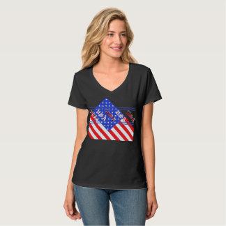 Azul branco vermelho patriótico EUA da bandeira Camiseta