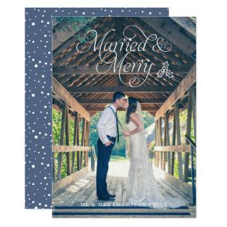 Azul casado & alegre do cartão do feriado da foto