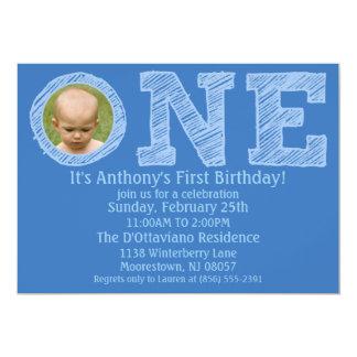 Azul Cerulean o um primeiro aniversário grande da Convite 12.7 X 17.78cm
