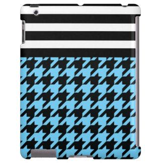 Azul-céu Houndstooth com listras 2 Capa Para iPad
