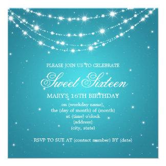 Azul Chain Sparkling do partido do doce dezesseis Convite Personalizado