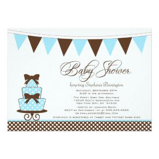 Azul chique + convite marrom do chá de fraldas dos