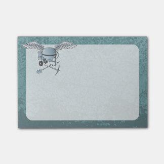 Azul-cinzas do misturador concreto sticky notes