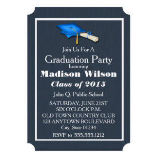 Azul com convites brancos da graduação