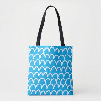 Azul com Doodles brancos Bolsa Tote