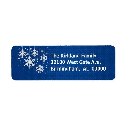 Azul com etiquetas de endereço do feriado dos floc etiqueta endereço de retorno