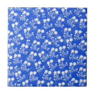 Azul com flores brancas azulejo quadrado pequeno