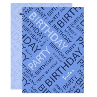 Azul conhecido personalizado do convite de
