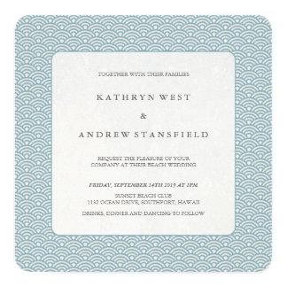 Azul + Convite branco do casamento do teste padrão