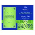 Azul, corações florais do verde que Wedding o prog Panfletos Personalizado