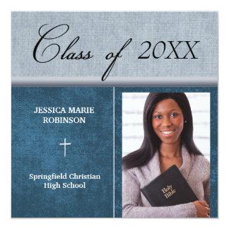 Azul cristão da graduação da foto da escola convite quadrado 13.35 x 13.35cm