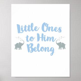 Azul cristão do poster | do berçário dos elefantes