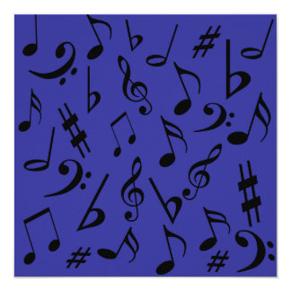 Azul customizável do convite das notas musicais