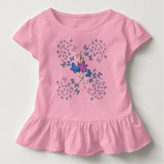 Azul da borboleta camiseta infantil