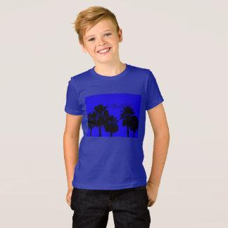 Azul da camisa das silhuetas T das palmas