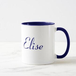 Azul da caneca conhecida de Elise e branco bonito