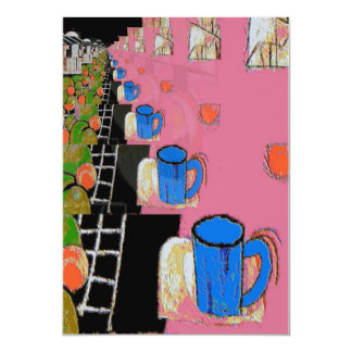 Azul da caneca de café, e fruta convite personalizados