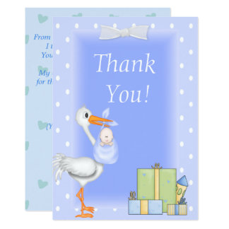 Azul da cegonha dos cartões de agradecimentos do