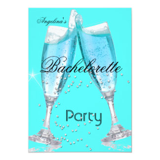 Azul da cerceta de Champagne da festa de solteira Convite 12.7 X 17.78cm