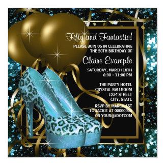 Azul da cerceta e festa de aniversário do leopardo convite quadrado 13.35 x 13.35cm
