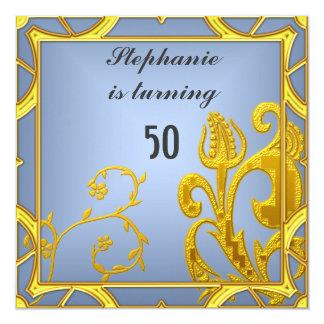 Azul da festa de aniversário de mulheres elegantes convite quadrado 13.35 x 13.35cm