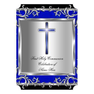 Azul da prata do comunhão santamente do menino ou convite personalizados