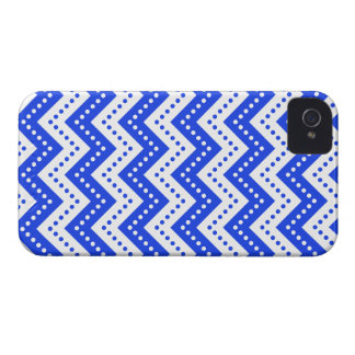 Azul das bolinhas 7 de Chevron Capa Para iPhone 4 Case-Mate