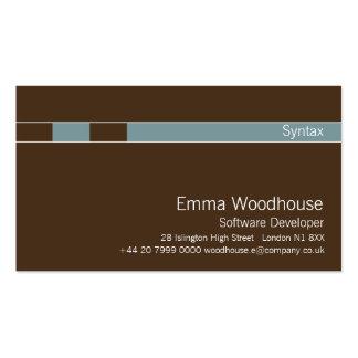 Azul de aço castanho chocolate & claro da sintaxe cartoes de visitas