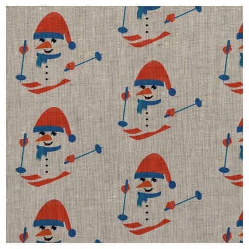 azul de esqui do boneco de neve rústico do tecido