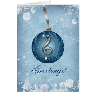 Azul de gelo do cartão do Natal da música