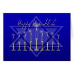 Azul de Hanukkah Menorah Cartão