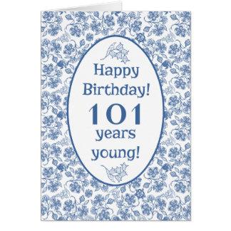 Azul de índigo no 101st cartão de aniversário