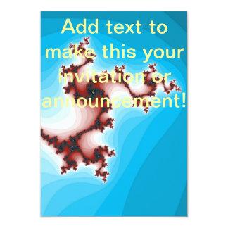 Azul de mitigação do marrom abstrato do Fractal Convite 12.7 X 17.78cm