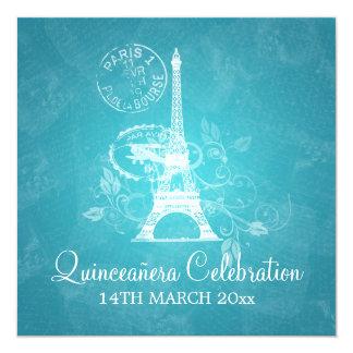 Azul de Paris romântico do partido da celebração Convites Personalizado