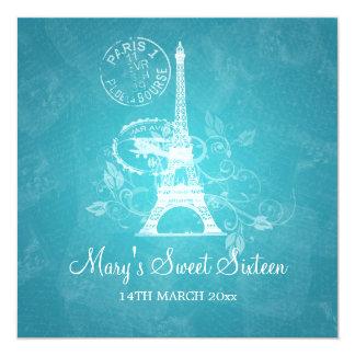 Azul de Paris romântico do partido do doce Convite Quadrado 13.35 X 13.35cm