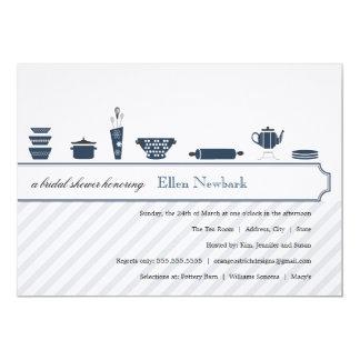 Azul de pavão dos chás de panela | convite 12.7 x 17.78cm