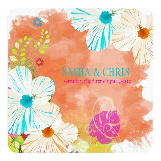 Azul de PixDezines+hibiscus alaranjado+monstera Convite Personalizado