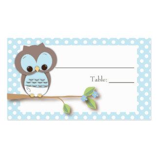 Azul de Placecard | do bebê da coruja Cartão De Visita