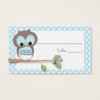 Azul de Placecard | do bebê da coruja Cartão De Visitas