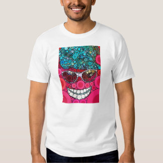 Azul de sorriso legal Funky do rosa do chapéu dos Camisetas