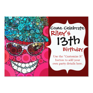 Azul de sorriso legal Funky do rosa do chapéu dos Convite 12.7 X 17.78cm
