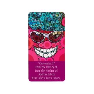 Azul de sorriso legal Funky do rosa do chapéu dos  Etiqueta De Endereço