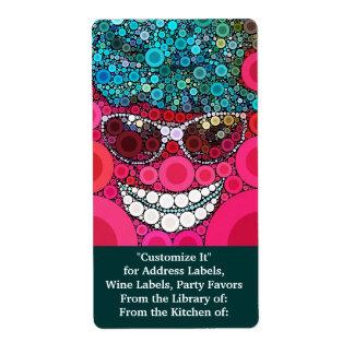 Azul de sorriso legal Funky do rosa do chapéu dos Etiqueta De Frete
