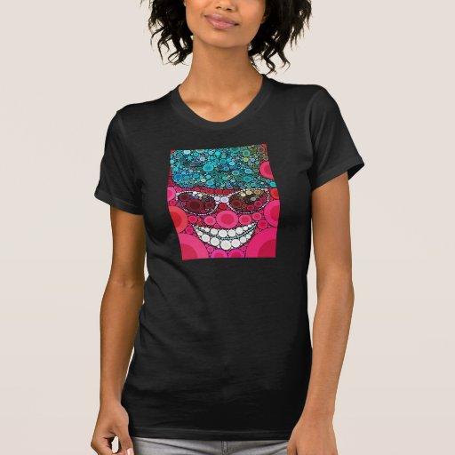 Azul de sorriso legal Funky do rosa do chapéu dos  Camiseta