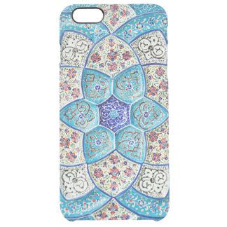 Azul de turquesa marroquino tradicional, branco, capa para iPhone 6 plus transparente