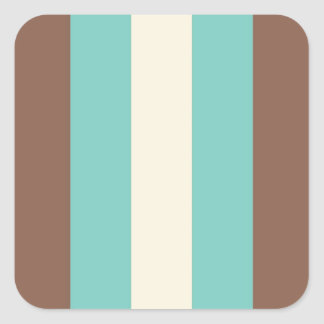 Azul de turquesa retro do vintage, Brown, listrado Adesivo Quadrado