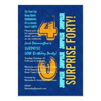Azul do aniversário de 40 anos da SURPRESA e ouro Convite 12.7 X 17.78cm