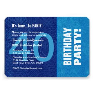 Azul do aniversário de 40 anos e Aqua modernos B40 Convites Personalizados