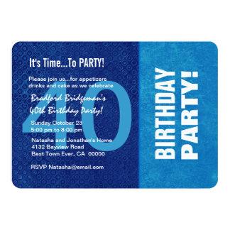 Azul do aniversário de 40 anos e Aqua modernos Convite 12.7 X 17.78cm